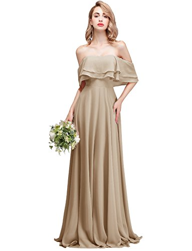 CLOTHKNOW Strapless Chiffon Bridesmaid Dresses Long Champagne with Shoulder Ruffles for Women Girls to Wedding Party Gowns