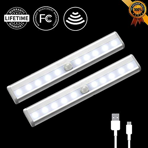 LED Closet Lights bar 10 LED Motion Sensor Light Under Cabinet Lighting Wireless Rechargeable Strips ,Stick-On Anywhere for Closet/Wardrobe/Drawer/Cupboard,White Light,2 Pack