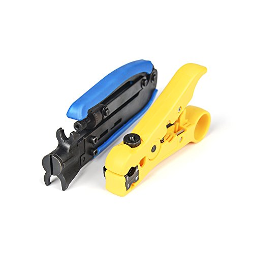 Iwiss 548+352 Coax Compression Crimping Tool F-Type Crimper Cable Tech RG6 RG59 RG11 H548A with Coaxial Cable Stripper ()
