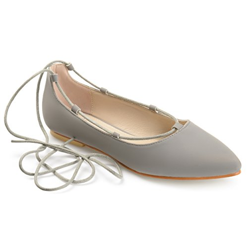 Journee Collection Womens Lace-up Pointed Toe Ballet Flats Grey
