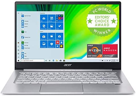 "Acer Swift 3 Thin & Light Laptop, 14"" Full HD IPS, AMD Ryzen 7 4700U Octa-Core with Radeon Graphics, 8GB LPDDR4, 512GB NVMe SSD, Wi-Fi 6, Backlit KB, Fingerprint Reader, Alexa Built-in, SF314-42-R9YN"
