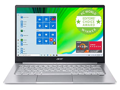 Acer Swift 3 Thin & Light Laptop, 14″ Full HD IPS, AMD Ryzen 7 4700U Octa-Core with Radeon Graphics, 8GB LPDDR4, 512GB NVMe SSD, Wi-Fi 6, Backlit KB, Fingerprint Reader, Alexa Built-in, SF314-42-R9YN