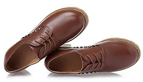 Cordones Parte De Individuales Inferior Cuero Brown Zapatos Casuales Shiney Con New Tendon SqxYpzYvw
