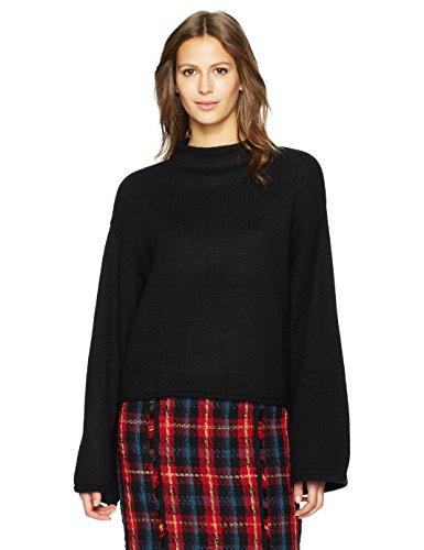 Anne Klein Women's Wide Sleeve Mock Neck Sweater, Black, - Sweater Sleeve Wide