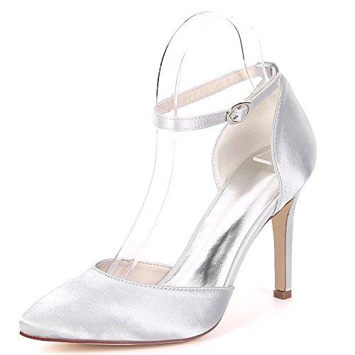 Flower Silver Chaussure 0608 Haute EU39 Femmes Bal De Cheville 22A Ager Satin Soirée UK6 Strap Talon De Robe Mariage Pompes 4r1qTg46