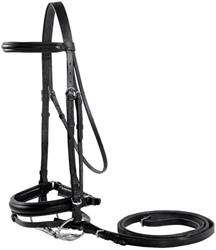 Paris Tack Dressage German Crank Bridle with Rubber Reins, Black, Full -