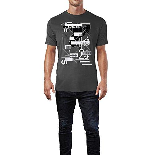 SINUS ART ® Abstrakte Collage – New York Herren T-Shirts in Smoke Fun Shirt mit tollen Aufdruck
