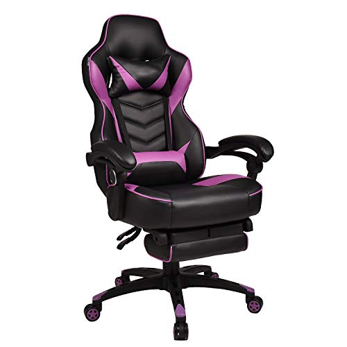 YOURLITE Video Game Chair High Back Computer Gaming Chair PU Leather Office Desk Chair Ergonomic Adjustable Swivel Chair with Headrest, Footrest and Lumbar Support, Purple Black