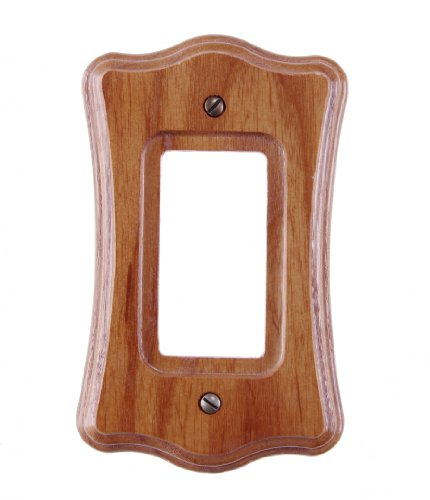 Amerelle Austin Single Rocker Wood Wallplate in Medium Oak (Plate Contemporary Accents Wall Oak)