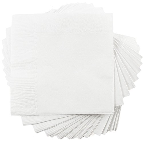 JAM PAPER Small Beverage Napkins - 5 x 5 - White - 50/Pack