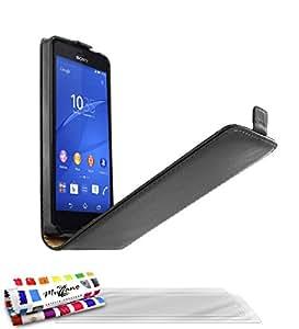 Muzzano Open Flip - Funda para Sony Xperia Z3 Compact, incluye 3 protecciones de pantalla, color negro