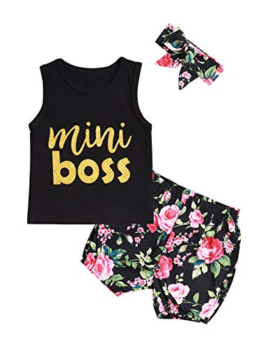 Baby Girl Clothes Mini Boss Sleeveless Black Tops +Floral Print Pants+Headband Newborn Summer Outfit Set(2-3T)