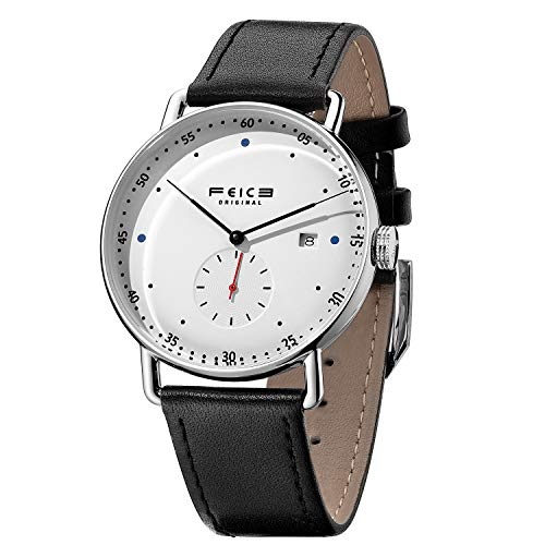 FEICE New Men's Automatic Watch Unisex Classic Bauhaus Mechanical Watch Curved Mirror Waterproof Casual Dress Watches with Leather Bands -FM506 (1-White)