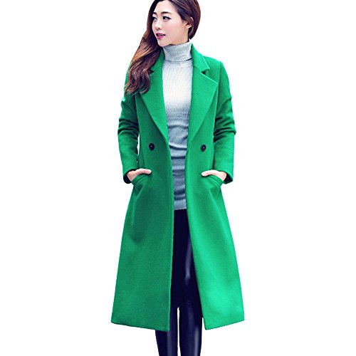 Leather Walker Coat (Womens Long Woolen Coat, Sunyastor Fashion Double Breasted Lapel Walker Overcoat Parka Jacket Thick Warm Cardigan)