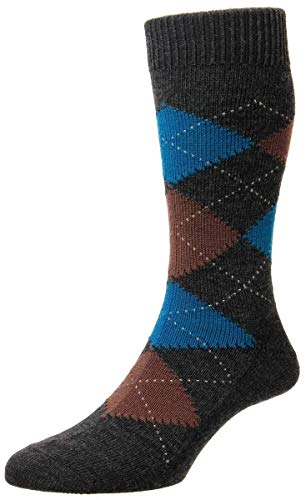 Pantherella Mens Racton Argyle Merino Wool Socks - Charcoal - Medium