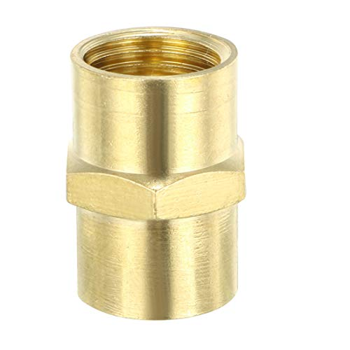 uxcell Brass Pipe Fitting, Equal Coupling, 1/4