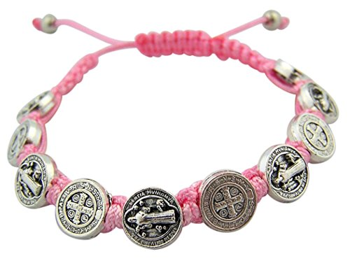 Saint Benedict Medal On Adjustable Pink Cord Bracelet  7 Inch