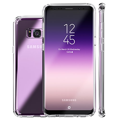 (Galaxy S8 Case, Clear Slim Hybrid Armor Perfect Fit Hard Back Soft Silicone Edge Anti-Scratch Excellent Grip Flexible Tpu Non-Slip No Bulky Shockproof Protective Cover for Samsung Galaxy S8 Crystal)