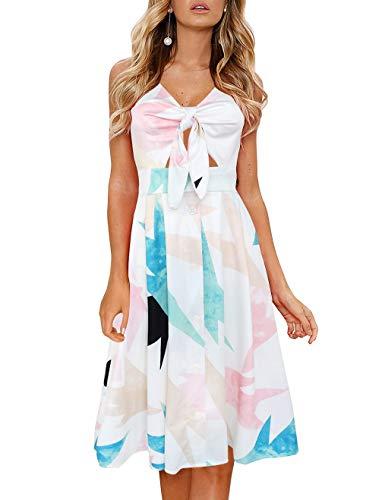FANCYINN Women's Tie Front Summer Midi Dress V Neck Floral Print Button Down Spaghetti Strap Dress Geometry M