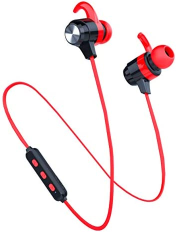 Bluetooth Headphone Sport, SOWND Magnetic Earphones HI-FI Stereo, Sweat-Proof Water-Proof Headsets with Mic, Noise Canceling for Gym, Running, Workout, 8 Hours Secure Fit Design – Red