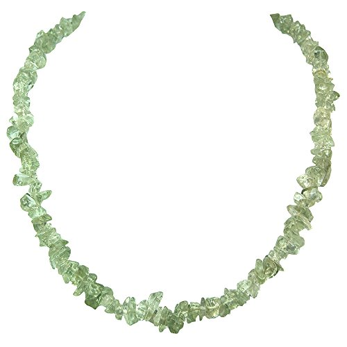 Green Amethyst Tumbled Chips Necklace (18