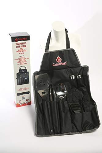 CampMaid New Chef Apron with BBQ Grilling Tool Set (Grilling Apron Set)