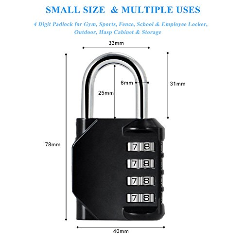Blingco Combination Lock, 4 Digit Anti Rust Padlock Set Security Padlock for Gym, Sports, Fence, School and Employee Locker, Outdoor, Hasp Cabinet and Storage, 2 Pack by Blingco (Image #1)