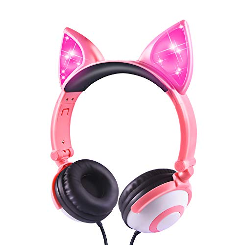 Esonstyle Kids Headphones Over Ear with LED Glowing Cat Ears,Safe Wired Kids Headsets 85dB Volume Limited, Food Grade Silicone, 3.5mm Aux Jack, Cat-Inspired Pink Headphones for Girls (Peach)