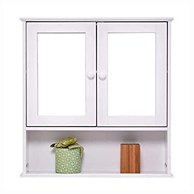 HEATAPPLY Simple Bathroom Mirror Wall Cabin et in White Wood Fin ish 23 x 22 in ch, Simple Bathroom Mirror Wall Cabinet in White Wood Finish 23 x 22 inch