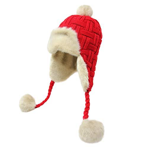 (Women's Knit Peruvian Beanie Hat Winter Warm Fuzzy Cap with Earflap Pom Pom Ski (Red))