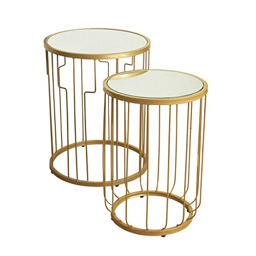 Kinfine Metal Accent Nesting Tables with Glass Top and Gold Base, Set of 2 Gold Metal Accent Table
