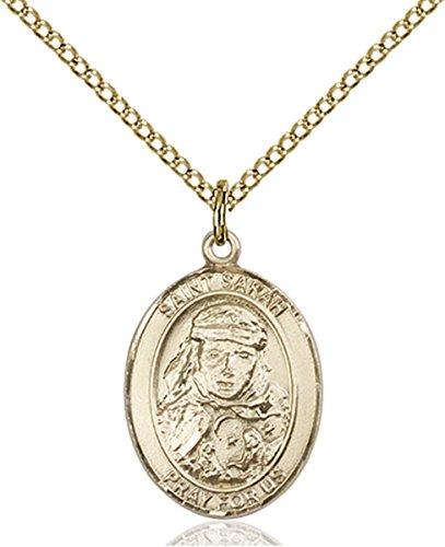 Patron Saints by Bliss 14K Gold Filled Saint Sarah Medal Pendant, 3/4 Inch