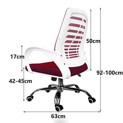 Skopall LUYIASI– kontorsstol i sportstil, svängbar ergonomisk stol, med hopfällbara armstöd (färg: Röd)