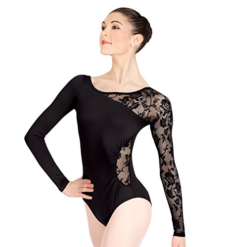Adult Long Sleeve Leotard with Lace Sleeve and Insert,N8650BLKM,Black,Medium