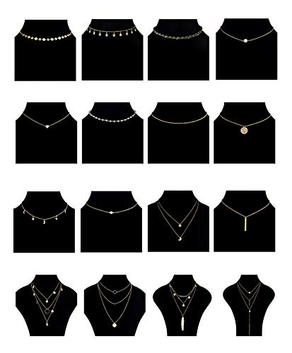 - Tornito 16PCS Layered Choker Necklace for Women Girls Multilayer Chain Pendent Necklace Y Necklace Star Moon Feather Bar Necklace Gold Tone