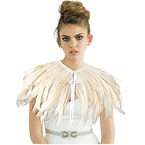 L'VOW Fashion Feather Cape Stole Black Shrug Shawl Poncho Iridescent(Beige)