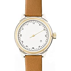 Squarestreet Sq03-a-14 Unisex Minuteman Acetate Case Brown Leather White Dial Gold Watch