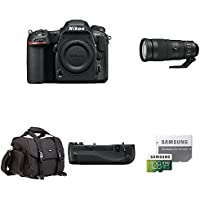 Nikon D500 DX-Format Digital SLR Body w/ Sports and Wildlife Lens and Deluxe Battery Grip Bundle
