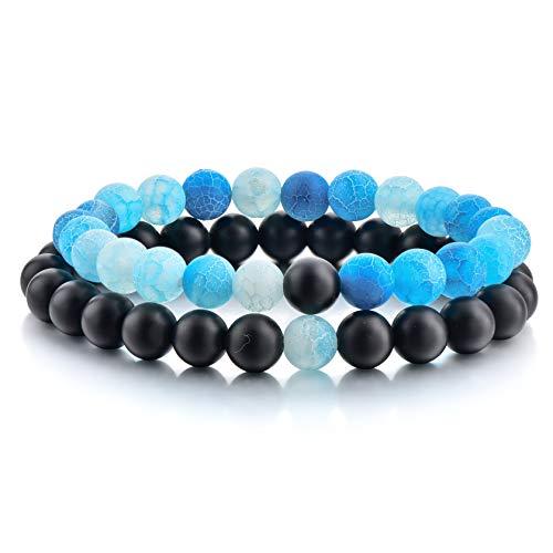 Bracelet 8 Long - Couples Bracelets,Natural Stone Bead Bracelets-8mm Healing Balancing Beads Men Women Long Distance Bracelets for Him Her Friends at Birthday Valentine(2pcs/ Strong Elastic)