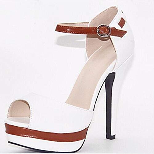 ZHZNVX Negro Stiletto White Zapatos de Blanco Tacones Leather Mujer Fall Heel Nappa Comfort pprwaq6