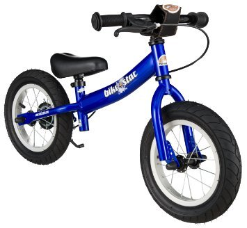 BIKESTAR® Original Safety Lightweight Kids First Balance Running Bike with brakes and with air tires for age 3 year old boys and girls | 12 Inch Sport Edition | Adventurous Blue