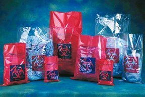 Fisher Scientific 01-828E Red Polypropylene Biohazard Autoclave Bags, Printed, 37'' x 48'' (Pack of 100)