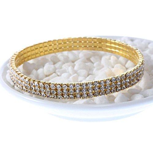 Price comparison product image Fashion Crystal Bracelets For Women Bridal Floral Ankle Bracelets Bangles (B)