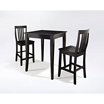 Crosley 3-Piece Pub Dining Set with Cabriole Leg and School House Stools - Black Finish