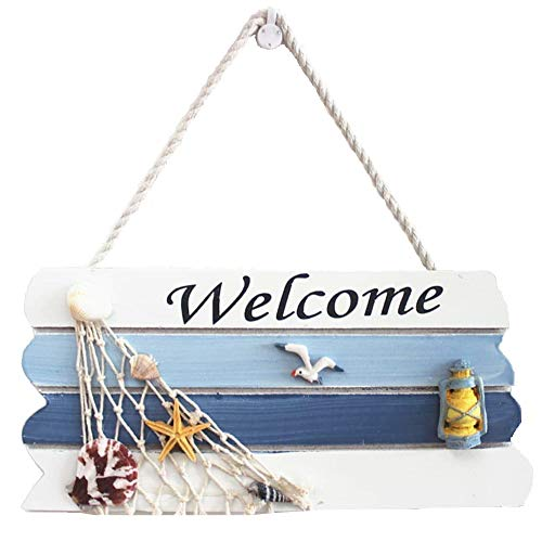 DOODEEN Welcome Sign,Home Decorative Welcome Wall Plaque,Hanging Ornaments Wood Sign,Boat Beach Ocean Seaside Theme Handcrafted Nautical Decor for Door, Entrance, Porch (1)