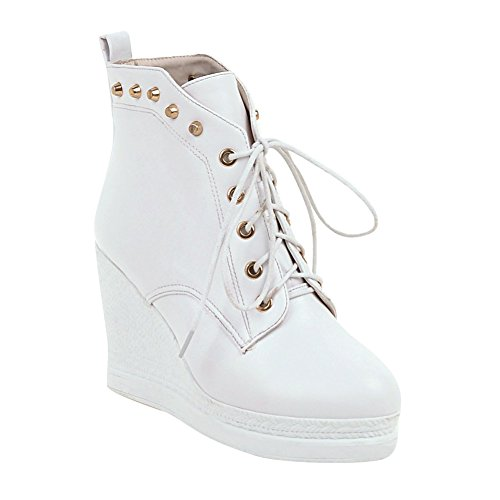 Latasa Dames Herfst Bezaaid Platform Wiggen Oxford Boots Wit