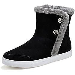 GIY Men Fashion Round Toe Mid-Calf Fur Lining Snow Boots Platform Side Zipper Warm Winter Bootie Shoes