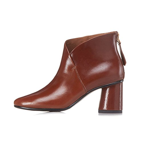 Heels Booties Dress Nine Pointed Seven Sexy with Comfort Handmade Ankle Boots Chunky Brown Women's Elegant Toe a8nBA8Px