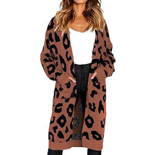 Borlai Women's Long Sleeve Casual Open Front Leopard Knitted Sweater Coat Cardigan Pockets (Coffee, ()
