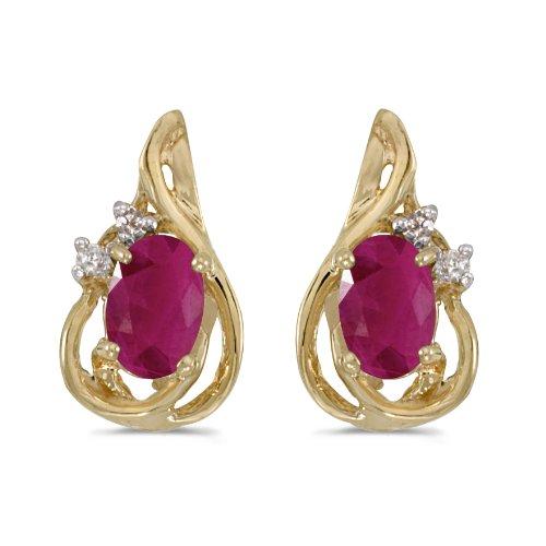 14k Yellow Gold Oval Ruby July Birthstone And Diamond Teardrop Earrings